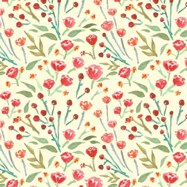 Fondo Acuarela Con Flores Rojas