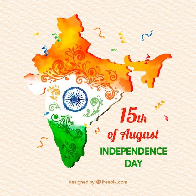 Fondo de acuarela para el día de la independencia de la india con mapa vector gratuito