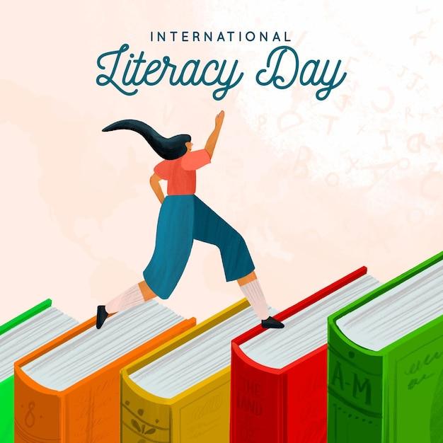 Fondo de acuarela día internacional de la alfabetización vector gratuito