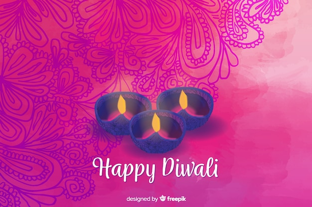 Fondo acuarela diwali con diseño floral rosa vector gratuito