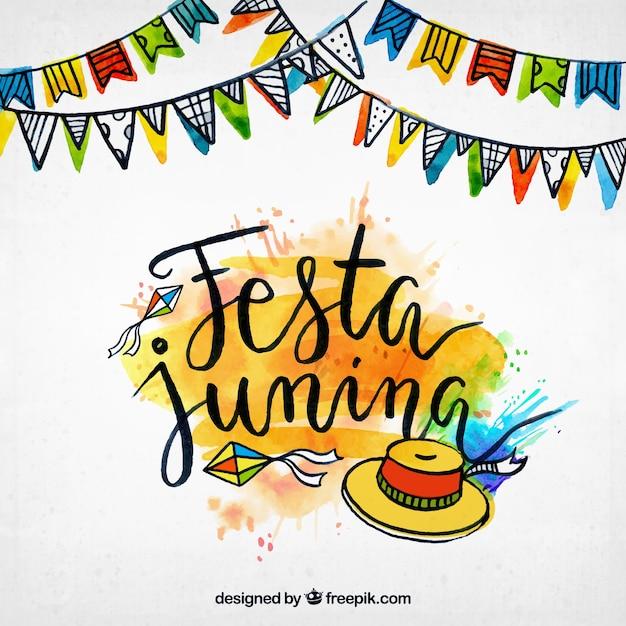 Fondo de acuarela de festa junina con elementos dibujados a mano vector gratuito