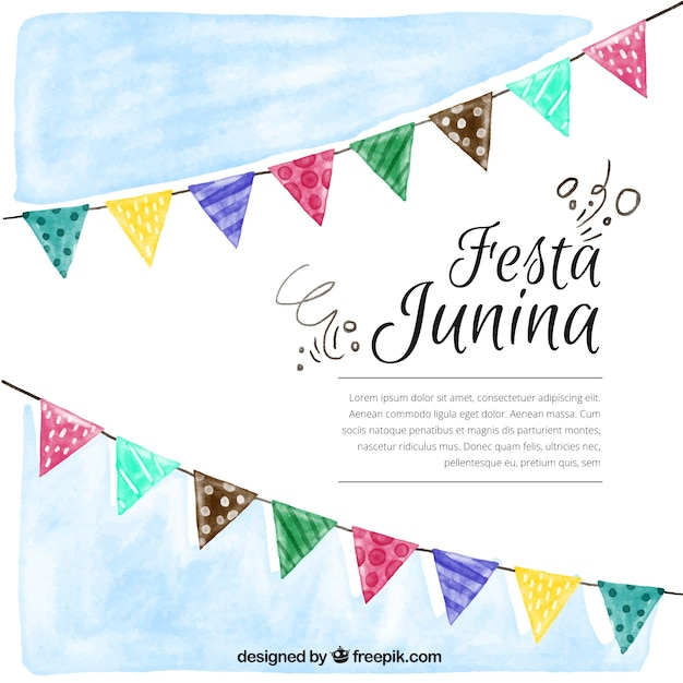 Fondo de acuarela de fiesta junina con banderines vector gratuito