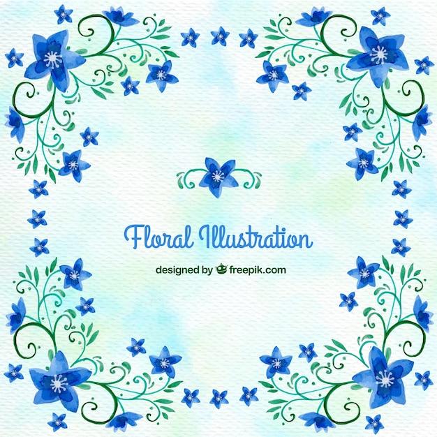 Fondo De Acuarela Con Flores Azules Ornamentales Descargar