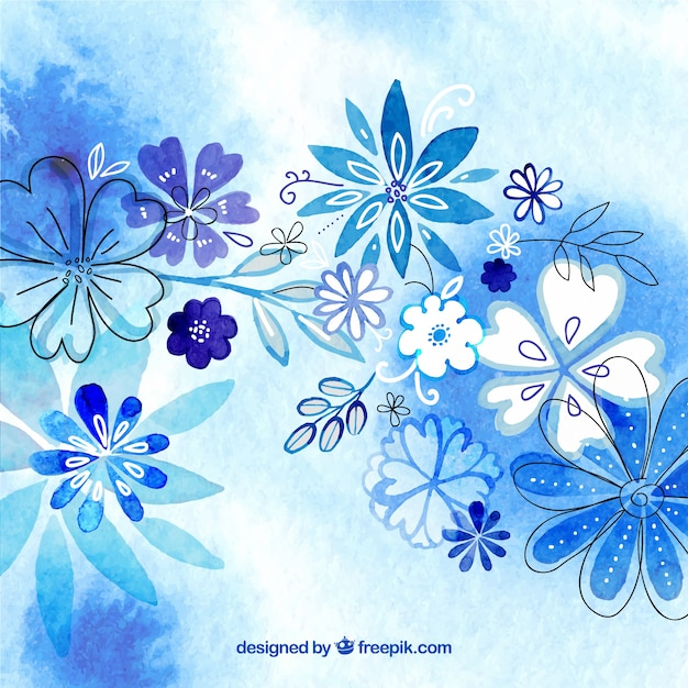 Fondo De Acuarela De Flores En Tonos Azules Descargar Vectores Gratis