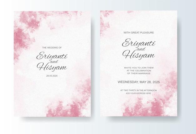 Fondo acuarela hermosa tarjeta de boda con splash Vector Premium