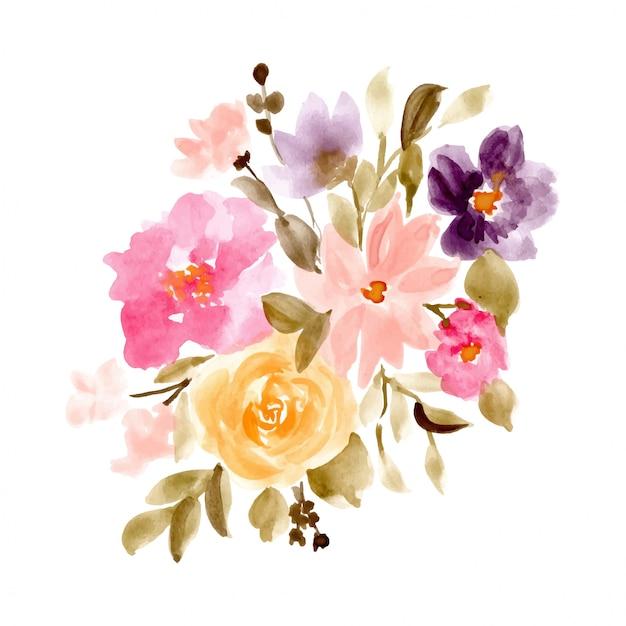 Fondo Acuarela Hermoso Arreglo Floral Descargar Vectores