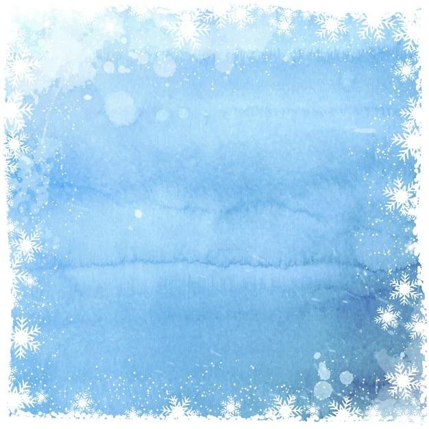 Fondo acuarela con marco de copos de nieve blancos vector gratuito