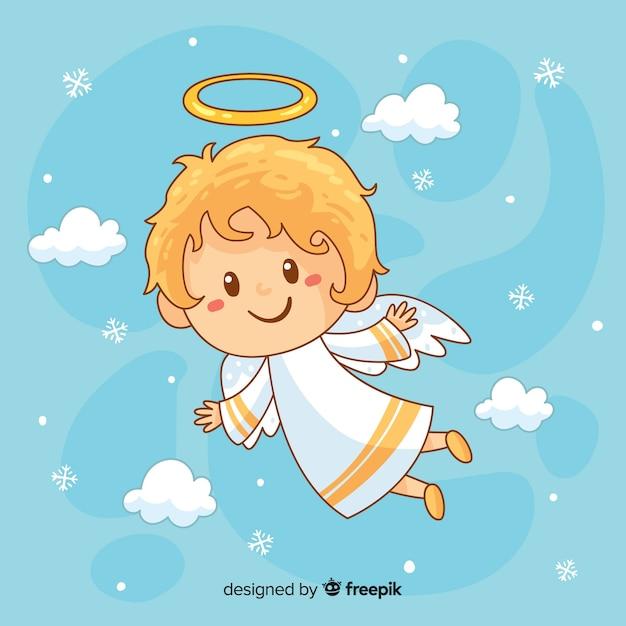 Fondo adorable con ángel de navidad dibujado a mano vector gratuito