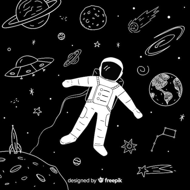 Fondo adorable de galaxia dibujada a mano vector gratuito