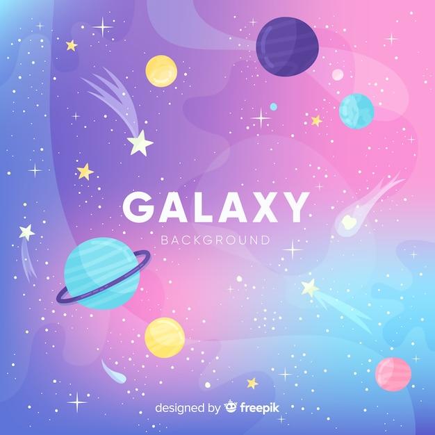 Fondo adorable de galaxia con diseño plano Vector Premium