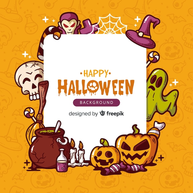 Fondo adorable de halloween dibujado a mano vector gratuito