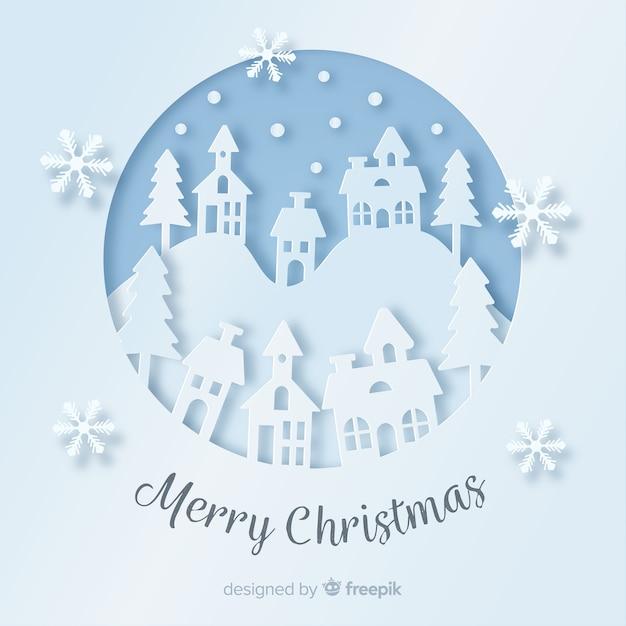 Fondo adorable de navidad con estilo de papel vector gratuito