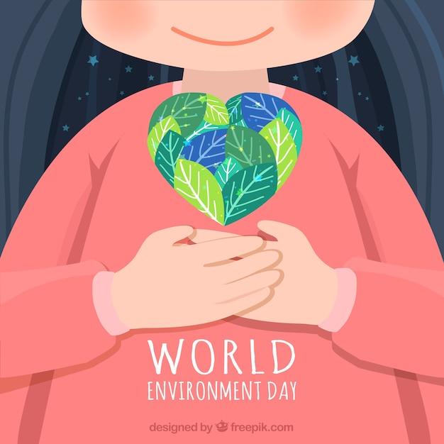 Fondo adorable con niño y corazón para el día mundial del medioambiente Vector Premium