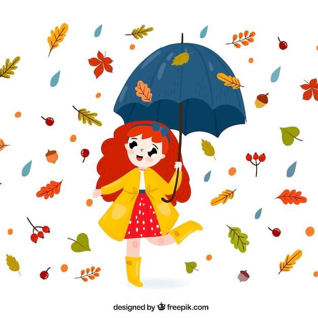 Fondo adorable de otoño con chica con paraguas y hojas vector gratuito