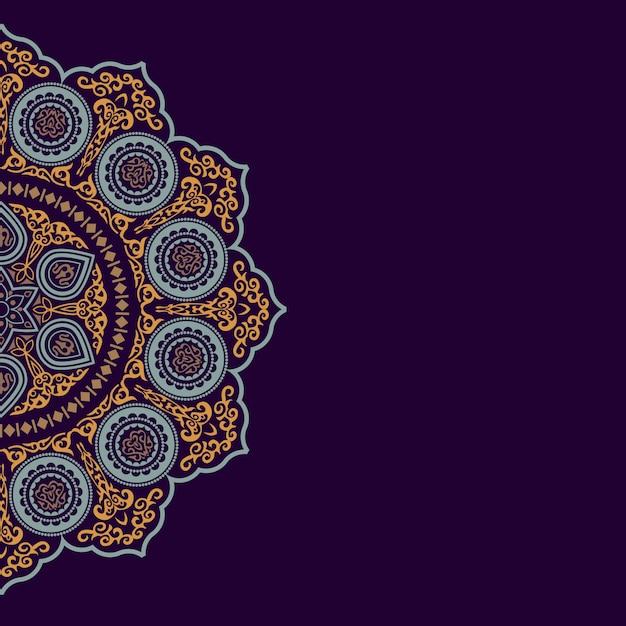 Fondo con adornos redondos de colores étnicos - estilo árabe, islámico y oriental Vector Premium