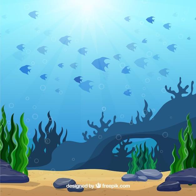 Fondo bajo el agua con animales marinos vector gratuito