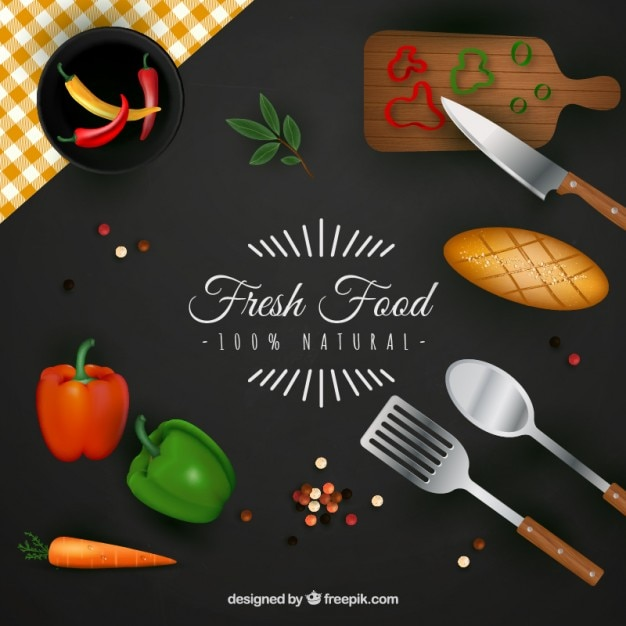 Fondo de alimentos frescos vector gratuito
