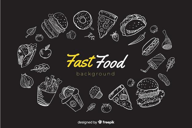 Fondo con alimentos vector gratuito