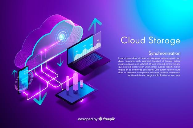 Fondo de almacenamiento en la nube isométrica vector gratuito