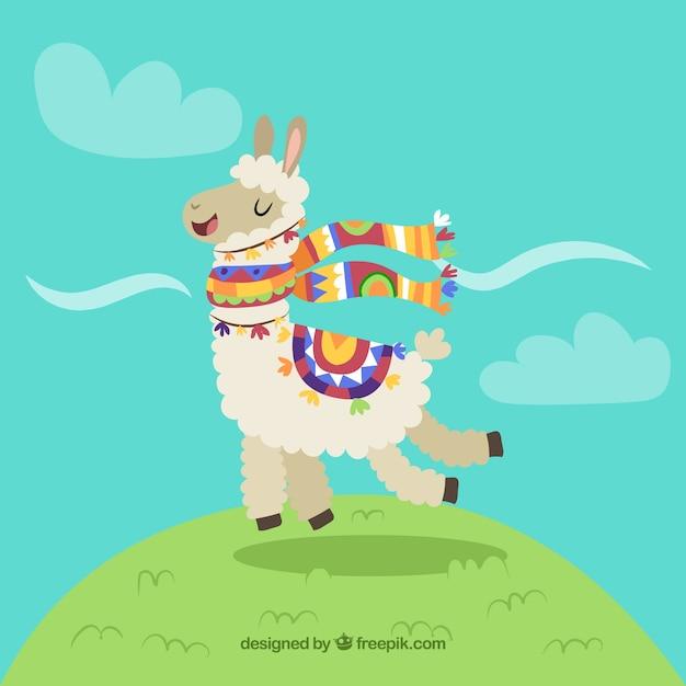 Fondo de alpaca gracioso vector gratuito