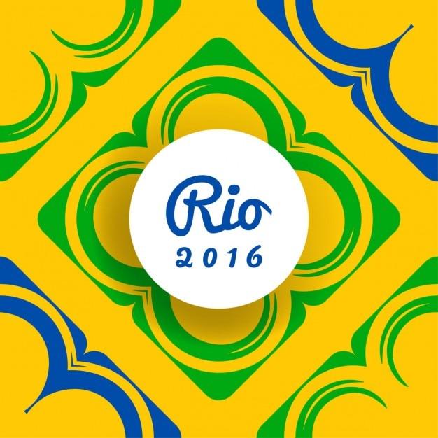 Fondo amarillo de brasil con formas abstractas vector gratuito
