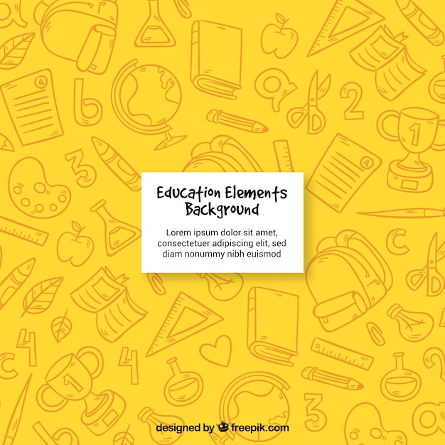 Fondo amarillo de elementos de educación Vector Gratis