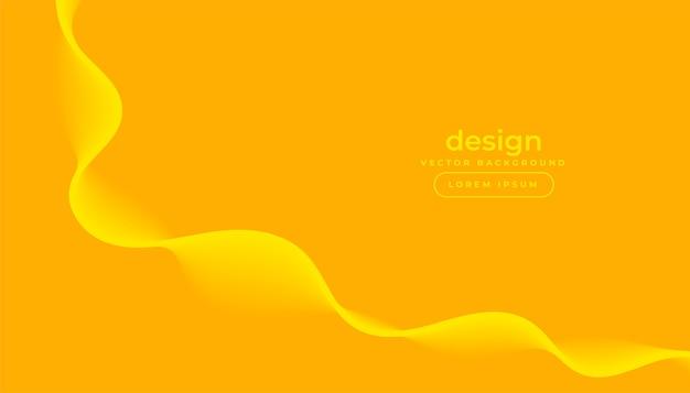 Fondo amarillo con diseño de onda que fluye con curvas vector gratuito