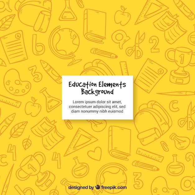 Fondo amarillo de elementos de educación Vector Premium