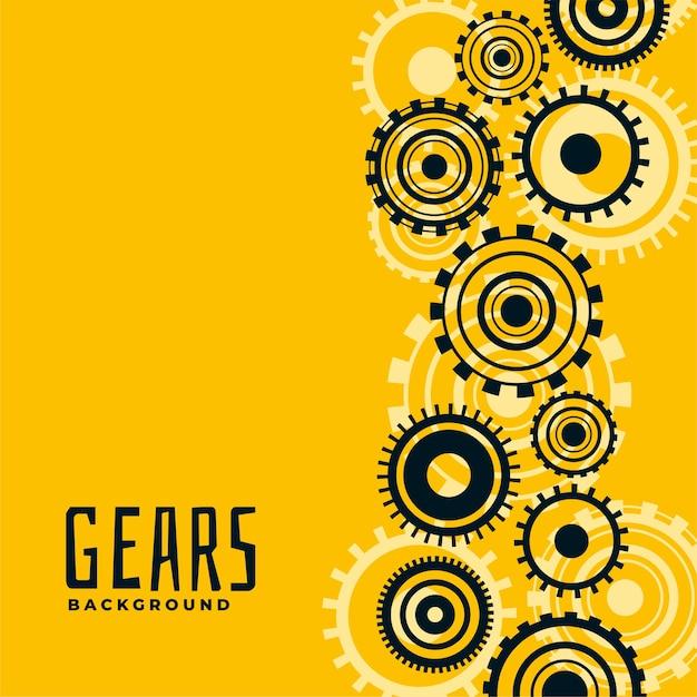 Fondo amarillo con engranajes y ruedas dentadas vector gratuito