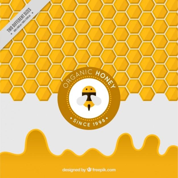 Fondo amarillo hexagonal de miel vector gratuito