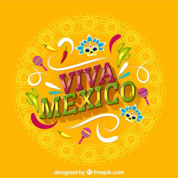 Fondo amarillo de lettering de viva mexico Vector Premium