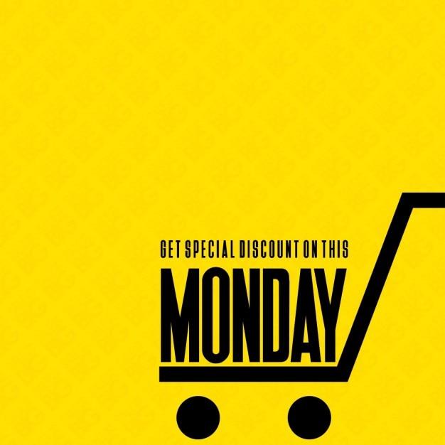 Fondo amarillo, lunes cibernético, carrito vector gratuito