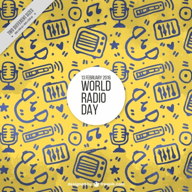 Fondo amarillo con objetos dibujados a mano para el día mundial de la radio vector gratuito
