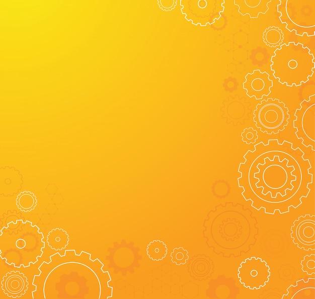 Fondo anaranjado abstracto de la rueda de los dientes Vector Premium