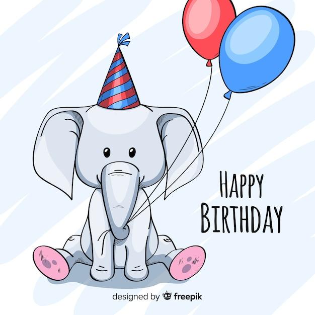 Fondo de animales de cumpleaños en diseño plano vector gratuito