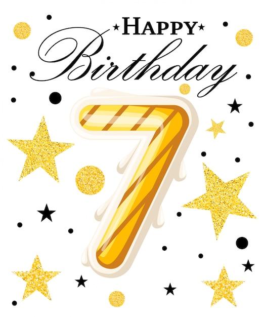 Fondo de aniversario de año de celebración de aniversario de séptimo año con cinta roja y confeti en blanco. plantilla de cartel o folleto. ilustración. página del sitio web y aplicación móvil. Vector Premium