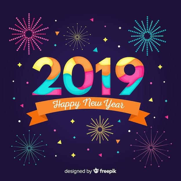 Fondo de año nuevo 2019 en diseño plano vector gratuito