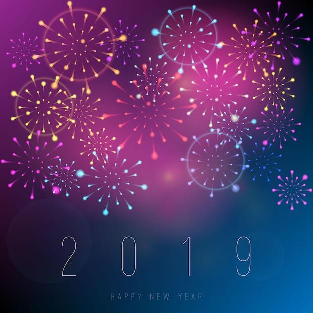 Fondo de año nuevo 2019 realistas fuegos artificiales Vector Premium