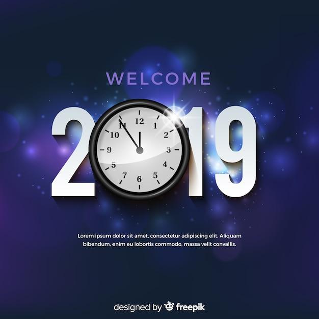 Fondo de año nuevo 2019 vector gratuito