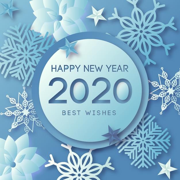 Fondo de año nuevo 2020 con decoración dorada realista vector gratuito