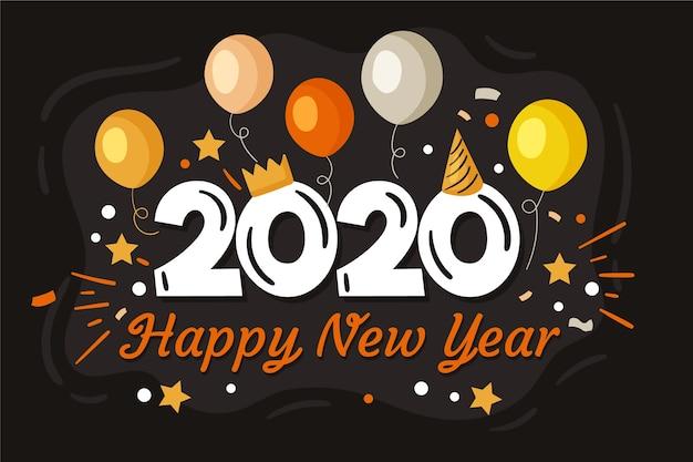 Fondo de año nuevo 2020 dibujado a mano vector gratuito