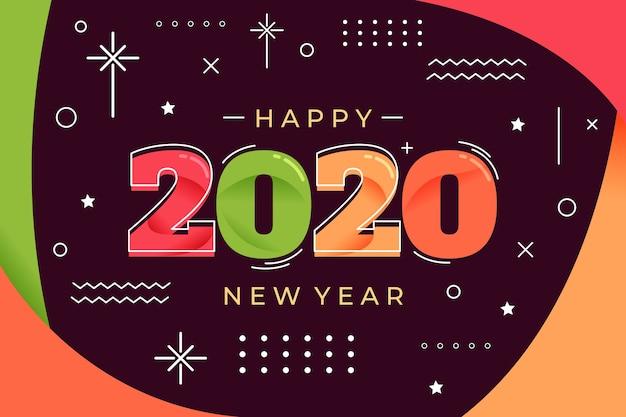 Fondo de año nuevo 2020 en diseño plano vector gratuito