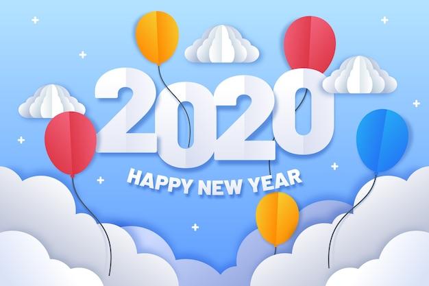 Fondo de año nuevo 2020 en estilo de papel vector gratuito