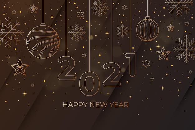 Fondo de año nuevo 2021 con decoración dorada realista vector gratuito