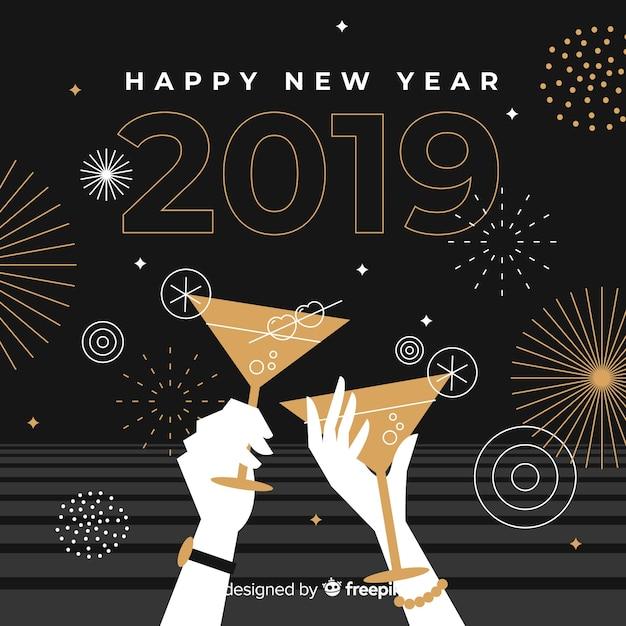Fondo año nuevo brindis vector gratuito