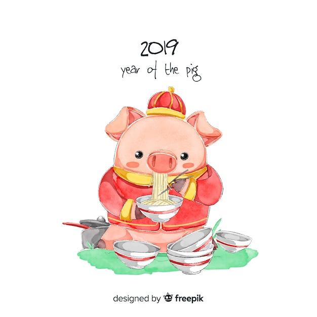 Fondo de año nuevo chino 2019 en acuarela vector gratuito