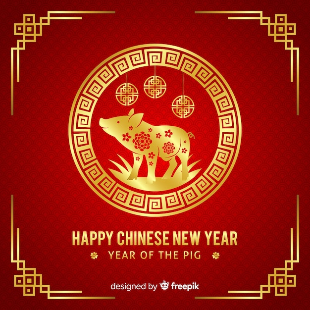 Fondo de año nuevo chino rojo y dorado vector gratuito