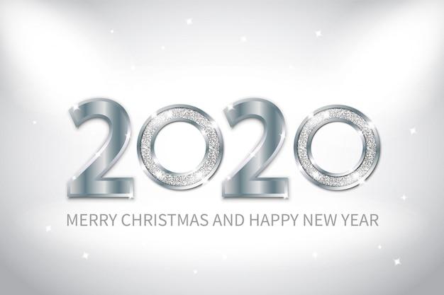 Fondo de año nuevo con metal plateado y efecto brillante. Vector Premium