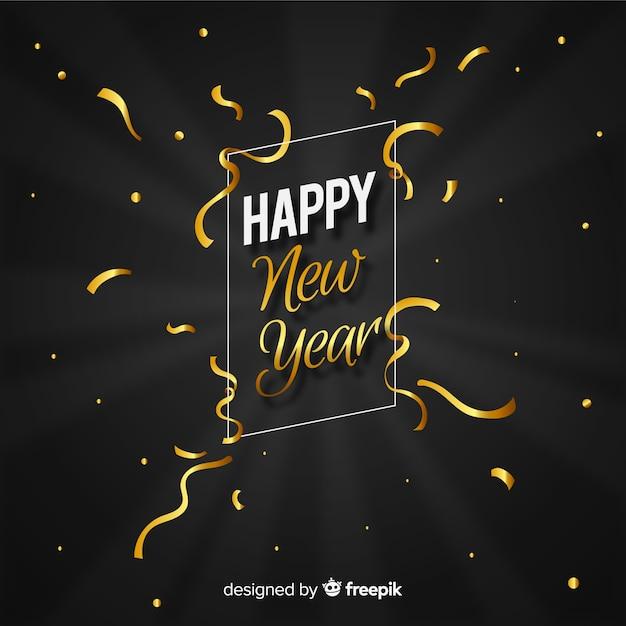 Fondo año nuevo serpentina dorada vector gratuito