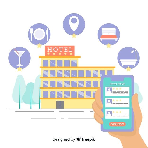 Fondo aplicación reserva de hotel plano vector gratuito